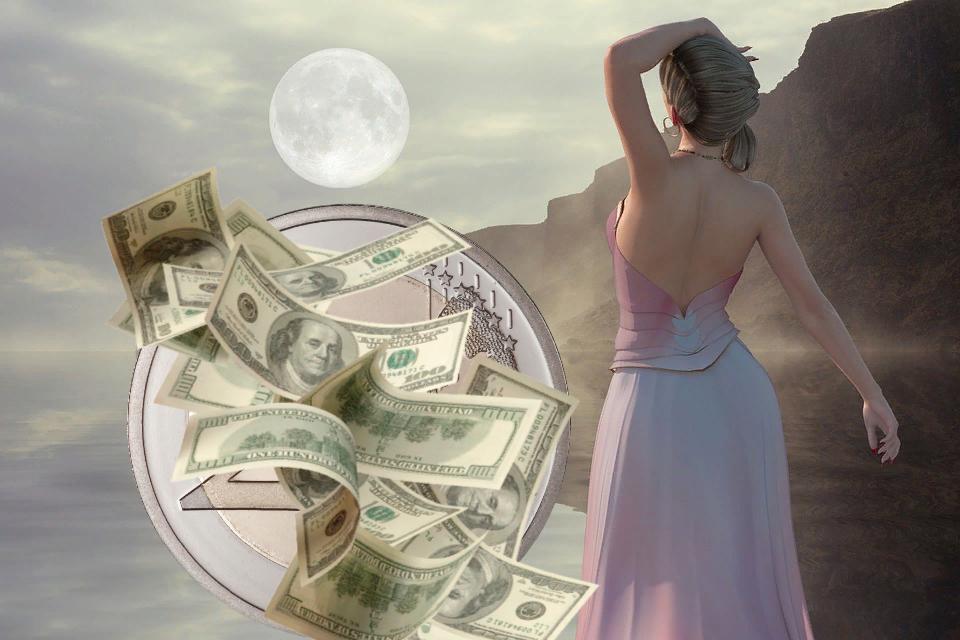 3830 Обряд для привлечения денег в полнолуние на серебряную монету