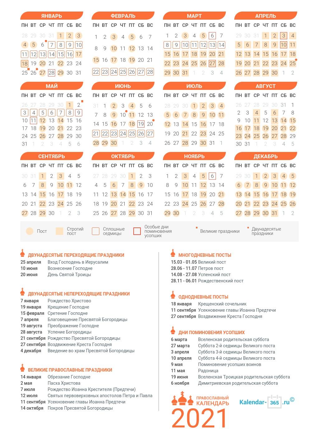 3967 Церковный православный календарь на май 2021 года